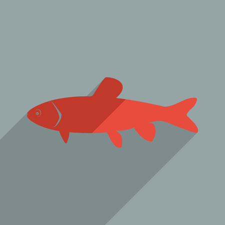 gills: Flat icons modern design with shadow of grass carp. Vector illustration