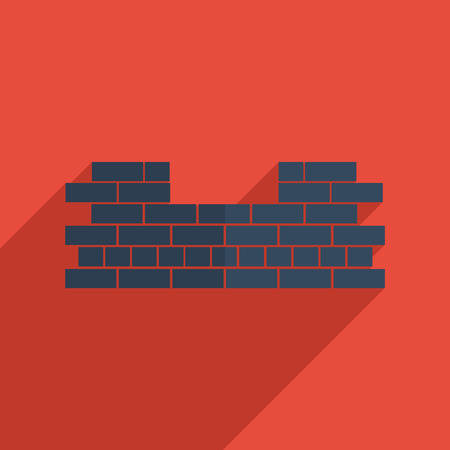 Flat icons modern design with shadow of brickwork. Vector illustration