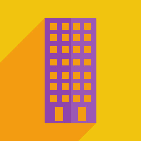 premises: Flat icons modern design with shadow of building. Vector illustration Illustration