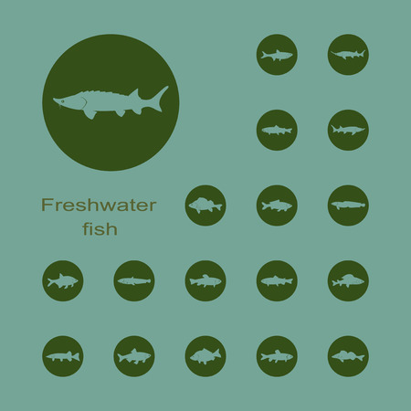 freshwater: It is a set of plain picture freshwater fish icons