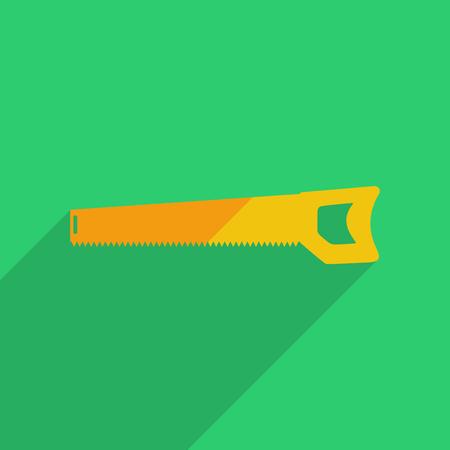 serrucho: Iconos planos de dise�o moderno con la sombra de la sierra de mano. Ilustraci�n vectorial