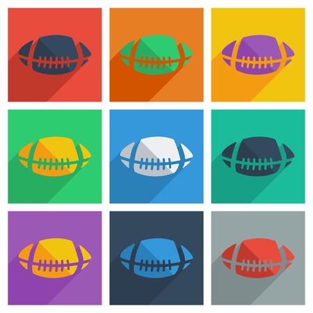 pelota rugby: Es un juego de pelota de rugby con sombra plana concepto moderno dise�o