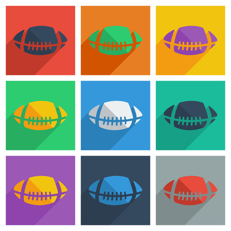 rugby ball: It is a set of rugby ball with shadow flat concept modern design Vectores