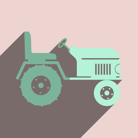 agricultural engineering: Flat icons with shadow of tractor. Vector illustration Illustration