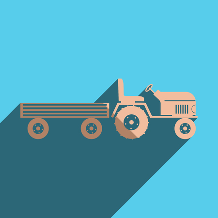 tractor trailer: Flat icons with shadow of tractor with a large trailer. Vector illustration