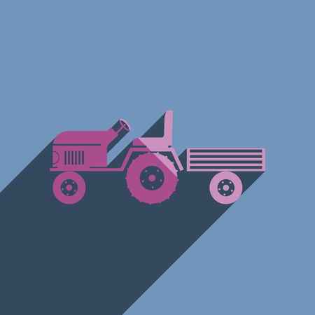 agricultural engineering: Flat icons with shadow of tractor with a small trailer. Vector illustration