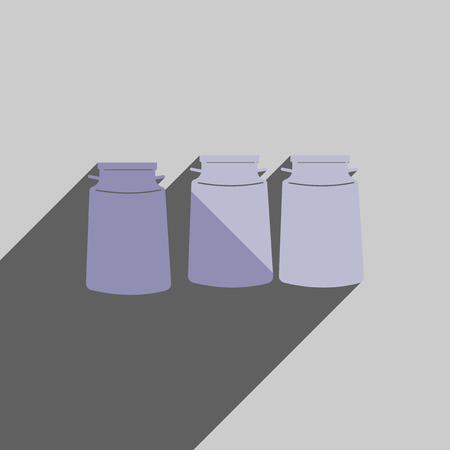 milk cans: Flat icons with shadow of three cans milk. Vector illustration Illustration
