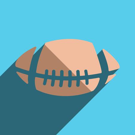 pelota rugby: iconos planos con la sombra de la pelota de rugby. ilustración vectorial