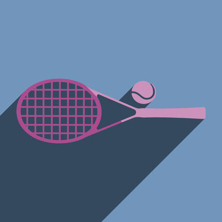 racket stadium: Flat icons with shadow of tennis racket. Vector illustration