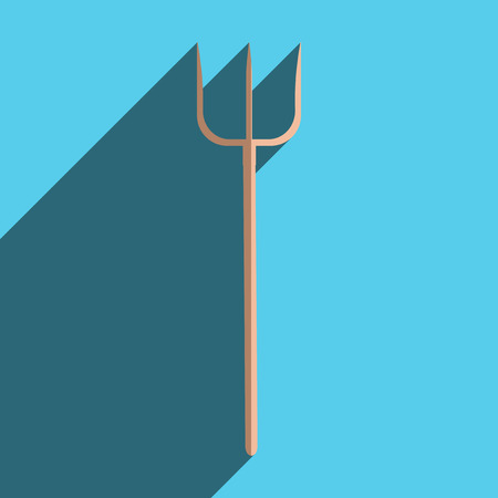 pitchfork: Flat icons with shadow of pitchfork. Vector illustration