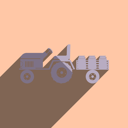 transporting: Flat icons with shadow of tractor trailer transporting milk.