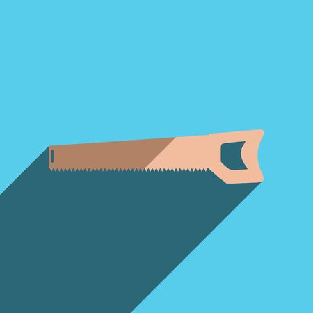 handsaw: iconos planos con la sombra de la sierra de mano.