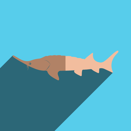 sturgeon: Flat icons with shadow of castellated sturgeon.
