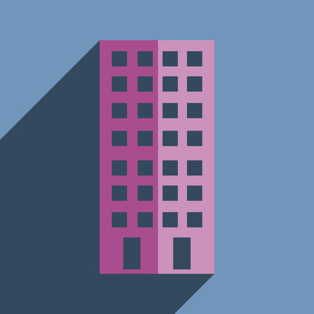 premises: Flat icons with shadow of building. Vector illustration