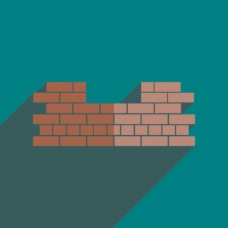 brickwork: Flat icons with shadow of brickwork. Vector illustration