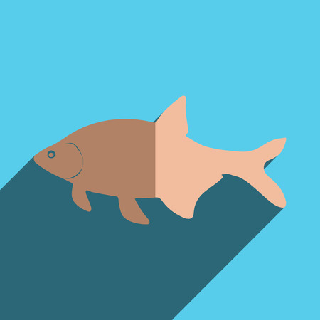 bream: Flat icons with shadow of bream. Vector illustration