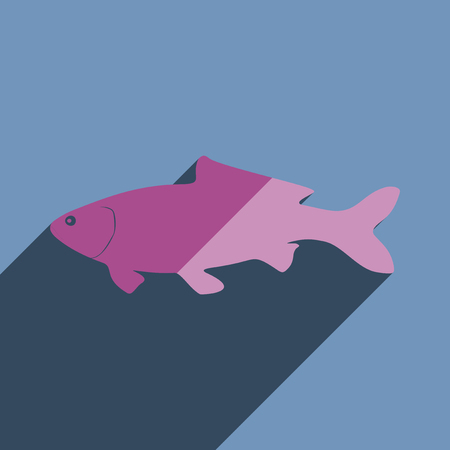 swimming carp: Flat icons with shadow of carp. Vector illustration