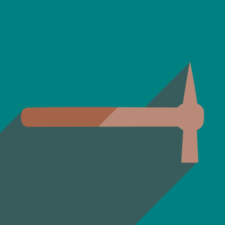installer: Flat icons with shadow of hammer. Vector illustration