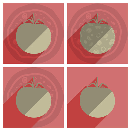 branch cut: Flat icons with shadow of tomato. Vector illustration Illustration