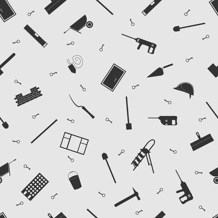 premises: Vector illustration construction on the background seamless pattern. Set of elements