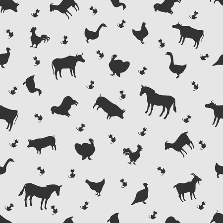 horse cock: Vector illustration animal on the background seamless pattern. Set of elements