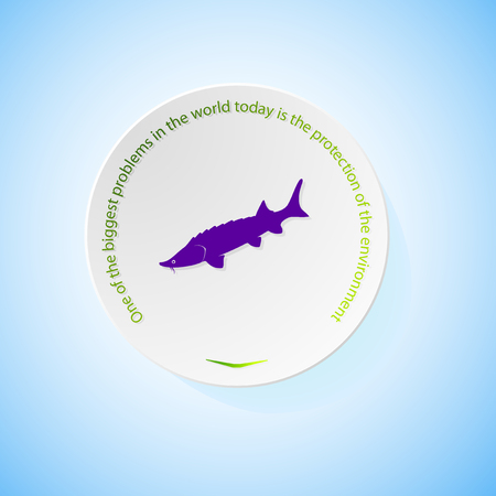 Environmental icons depicting fish with shadow, abstract vector illustration