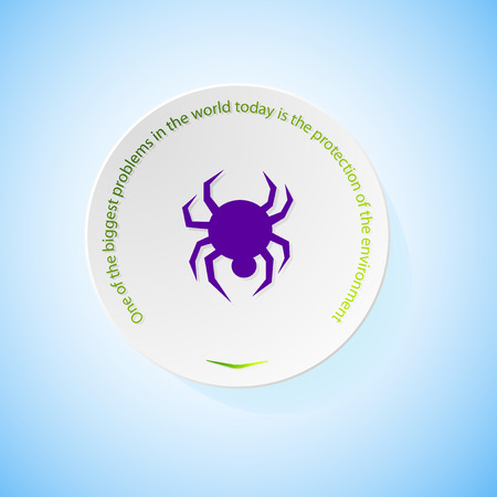 combustible: Environmental icons depicting spider with shadow, abstract vector illustration