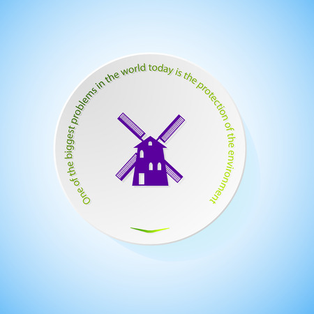 combustible: Environmental icons depicting mill with shadow, abstract vector illustration