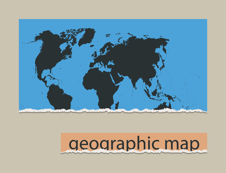 geographic: Geographic map and torn paper. Realistic image of the object