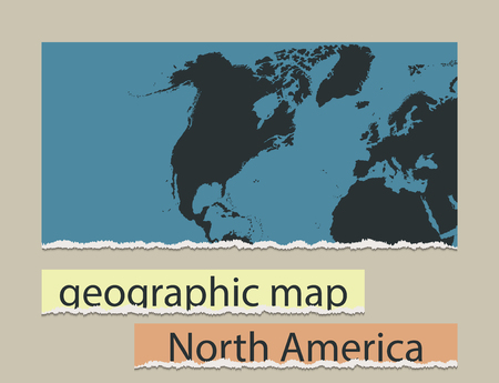 geographic: Geographic map and torn paper. Realistic image of the object North America