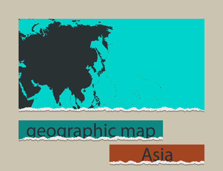 geographic: Geographic map and torn paper. Realistic image of the object Asia