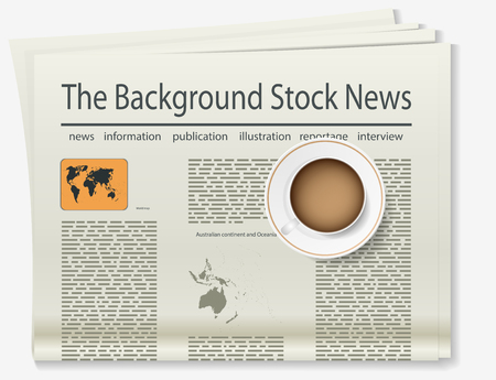 article: World map. Newspaper. Realistic image of the object. Vector illustration
