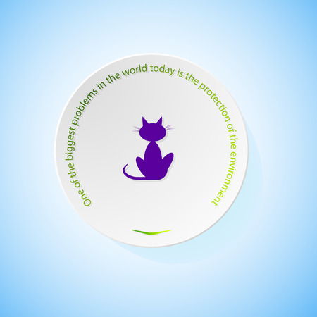 combustible: Environmental icons depicting cat with shadow, abstract vector illustration Illustration