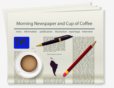broadsheet: World map. Newspaper. Realistic image of the object. Vector illustration