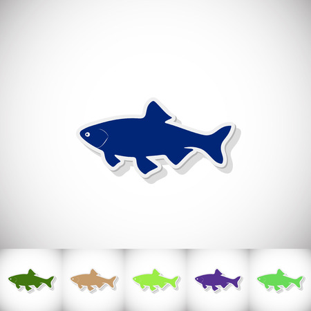 ide: Fish ide. Flat sticker with shadow on white background. Vector illustration