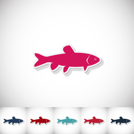 grass carp: Fish grass carp. Flat sticker with shadow on white background. Vector illustration Illustration