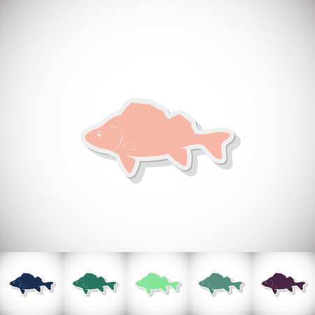 white perch: Fish perch. Flat sticker with shadow on white background. Vector illustration