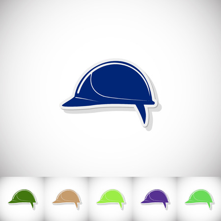 Helmet building. Flat sticker with shadow on white background. Vector illustration Illustration