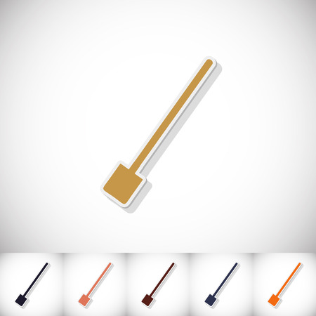 Shovel. Flat sticker with shadow on white background. Vector illustration Illustration