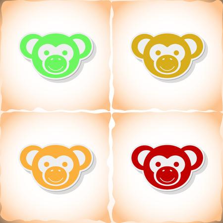 jumping monkeys: Monkey. Flat sticker with shadow on old paper. Vector illustration Illustration