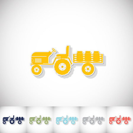 Tractor trailer transporting milk. Flat sticker with shadow on white background. Vector illustration