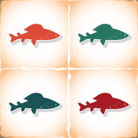gills: Fish grayling. Flat sticker with shadow on old paper. Vector illustration