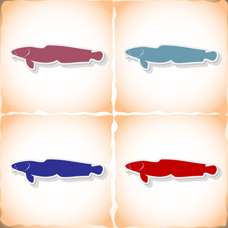 burbot: lota pez. pegatina plana con la sombra en el papel viejo. ilustración vectorial