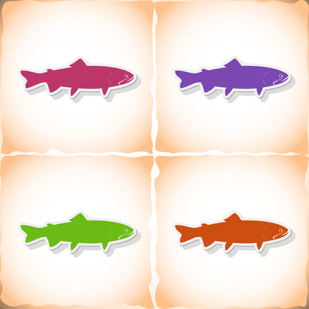 Fish loach. Flat sticker with shadow on old paper. Vector illustration Illustration