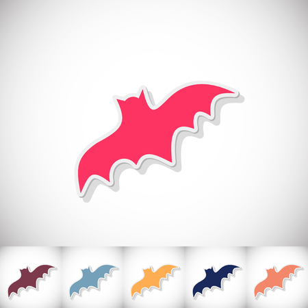 Bat. Flat sticker with shadow on white background. Vector illustration