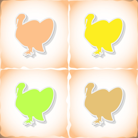 Turkey. Flat sticker with shadow on old paper. Vector illustration
