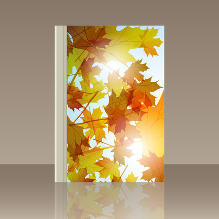 still: Book autumn still life. Maple leaves. Vector background Illustration