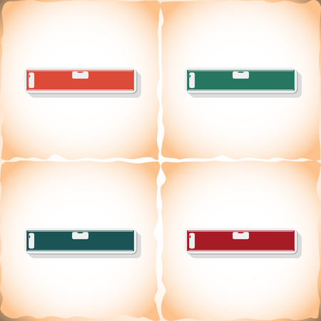 ripped metal: Spirit level. Flat sticker with shadow on old paper. Vector illustration