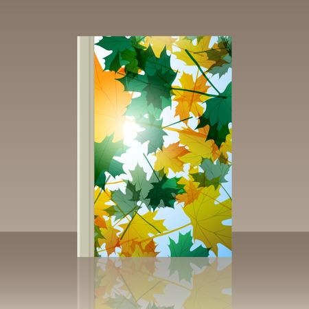 Book autumn still life. Maple leaves. Vector background Illustration