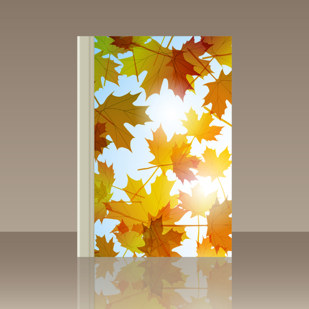 Book autumn still life. Maple leaves. Vector background Illustration